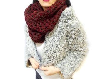 Chunky scarf, Eternity Scarf, Oversized Cowl, Burgundy Green, Crochet Infinity Scarf, Wrap cowl, Loop scarf, Bulky
