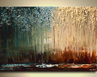 "Modern Palette Knife Landscape Painting Blue Brown Abstract Blooming Tree Art by Osnat - MADE-TO-ORDER - 40""x30"""