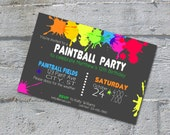 Paintball Party Birthday Invitation - printable digital file