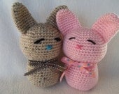 Crocheted Amigurumi Love Bunnies