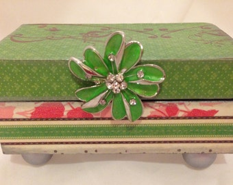 Green and Pink Striped Decorative Box