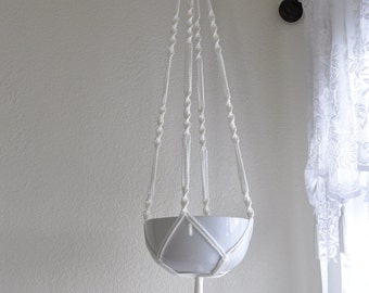 """Hand Crafted Macrame Plant Hanger- White 42""""-45"""" (Available in all colors)"""