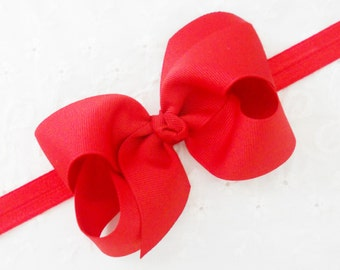 "SALE-Red Baby Headband Red Bow Headband Red Baby Bow Headband Red Newborn Headband Minnie Mouse Headband -Boutique 4"" Bow-Newborn - Toddler"