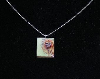 Golden Lion Tamarin Pendant - Monkey Necklace - Monkey Illustration - jewelry - scrabble pendant necklace