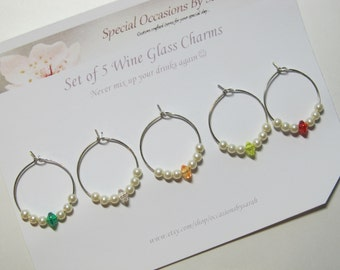 Wine Glass Charms - Ivory Pearl Variety - Set of 5
