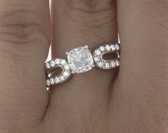 GIA Certified Diamond Bridal Anniversary Ring Cushion Cut 2.46 Carat 14k