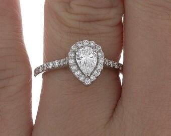 GIA Pave Set Engagement Ring Diamond Anniversary Pear cut 2.25 Ct 18k W/G