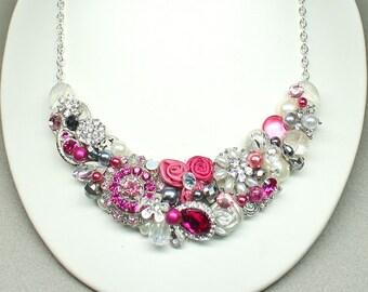 Bright Pink Statement Necklace- Pink Bridal Statement Necklace-Bridesmaid Bib Necklace-Rhinestone Bridal Bib -Magenta Necklace- Fushia Bib