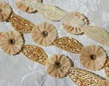 Vintage French, embroidered trim, embroidered motifs, beaded flowers, beaded leaves, beaded motifs, vintage flowers, beaded applique,