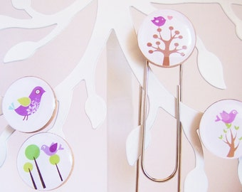 Purple Bird - Office magnet and Large paperclip set