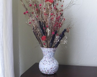 """Softly Colored Mosaic Vase, 7"""" Tall"""