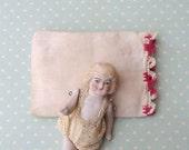 Tiny Little Victorian Era Doll's Pillow with Crochet Edge