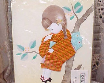 Darling Japanese Art Work Girl Done in Fabric and Paint