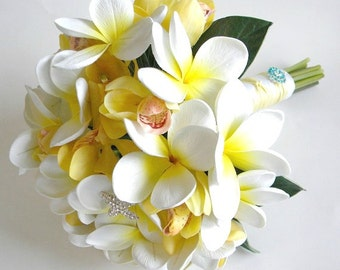 The Angela Bouquet- Real Touch Plumeria and Orchid Bridal Bouquet in Soft Yellow and White