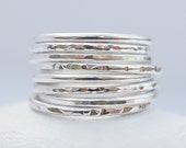 Sterling Silver Hammered Textured Rustic Skinny Band Ring x1