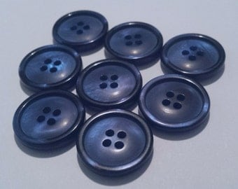 """24 Large Blue Variegated Pearlized Matching Buttons with Rims for Sewing and Crafts, Sew through buttons - 4 holes, Size 13/16"""", 20mm, 32L"""