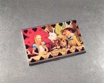 Business Card Case, Alice in Wonderland Business Card Case,  Metal Card Case, Metal Card Holder