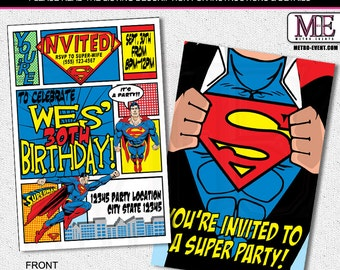 Superhero Invitation, Superman Birthday Invitations, Super Man Invitation, Superman Party Invitations, Superman Party, Invitations, Invite