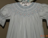 Blue Smocked Monogrammed Bishop Style White Dress