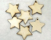 Rustic Stars Natural Wooden Pendants Eco Friendly Charms