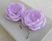 Lilac bridal hair bobby pins, Pale purple bridesmaids hair clips, lilac shoe clips, lilac dress sash flowers brooch, Handmade accessories