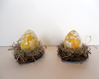 Yellow and White Marbled Easter Egg in Nest