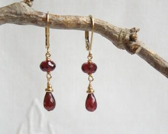 Gemstone Dangle Earrings: Garnet Earrings, AAA Garnets, 14K Gold Filled Beads,January Birthstone