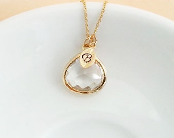 Initial Necklace. Clear Glass Teardrop Pendant. Personalized Necklace. Gold Filled Chain. Monogram Necklace. Personalized Jewelry