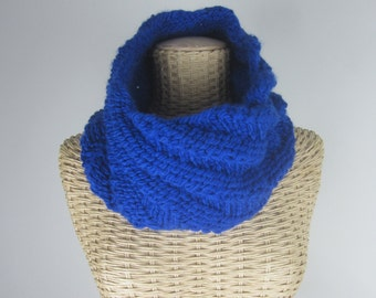 Hand Knit Cobalt Blue Cowl - Chunky Yarn Cowl - Warm - Vegan Scarf - Womans Fashion Accessory