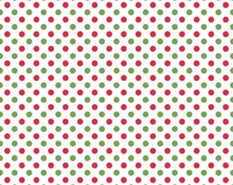 In stock now-Small Cotton Dots Christmas-by Riley Blake- 1 yard