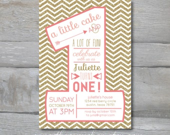 PINK and GOLD Glitter First Birthday with Chevrons
