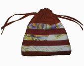 red patchwork drawstring pouch