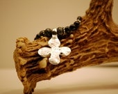 Silver matte hammered cross necklace. snowflake obsidian and cross necklace 20""