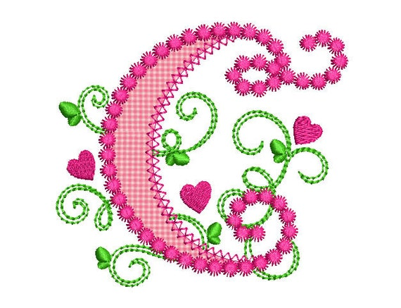 alphabet lettre mignon c pour lil princesse coeurs applique
