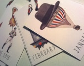 small cards ephemera calendar 2015