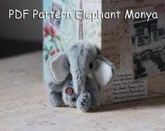 "PATTERN ONLY! Miniature  Elephant Elefant Teddy Bear ""Monya"" Pattern."