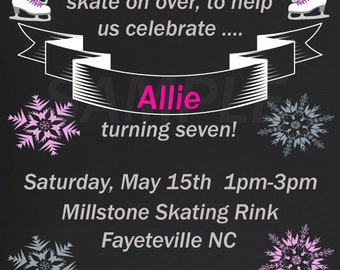 Girl Chalkboard Ice Skating Birthday Invitation