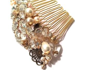 The Maxine Bridal Hair Comb, Gold Haircomb, Pearl and Rhinestone Hair comb, bridal hair accessories