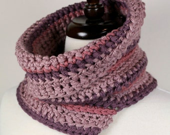 Rose - Pima Cotton Handmade Crochet Cowl Neckwarmer in Dusty Rose and Wisteria Lily