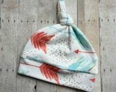 Watercolor Arrows Organic Top-Knot Hat by JuteBaby