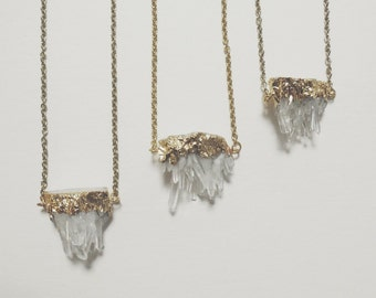 Clear crystal quartz gemstone cluster necklace