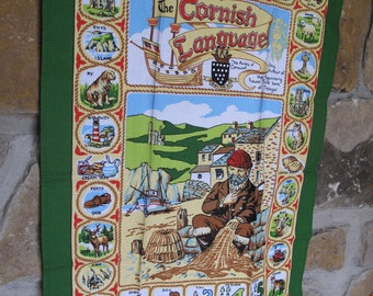 Tea Towel, The Cornish Language, Green,Yellow, Nautical, Cotton, Kitchen Towel, Designed by John Ball, Sally Jane Textiles, King Arthur,