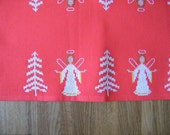Vintage Swedish Christmas Small Table Runner -  Red Table topping - Cross stitched Angel Ornaments