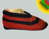 Wool Hand Knit Slippers - Red and Black Warm Cozy House Shoes, Colorful Winter