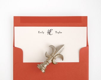 ENGRAVER Flat Note Cards - Personalized Letterpress Stationery - Vintage Style