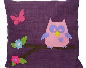 Owl on a Branch Applique Cushion