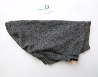 Charcoal Grey Cashmere Dog Sweater Upcycled (S)