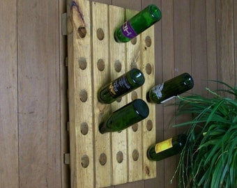Wine Rack Distressed Wood Antique Style Wall Hanging