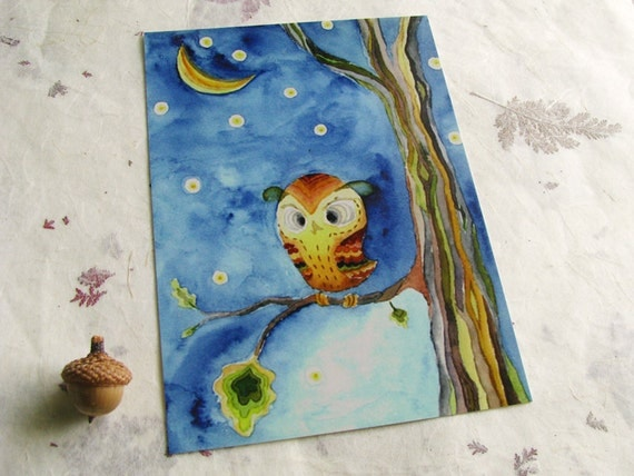 Postcard Owl Halloween woodland moon starry night