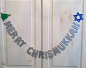 Merry Chrismukkah Banner --  Christmas Hanukkah Photo Prop / Decoration